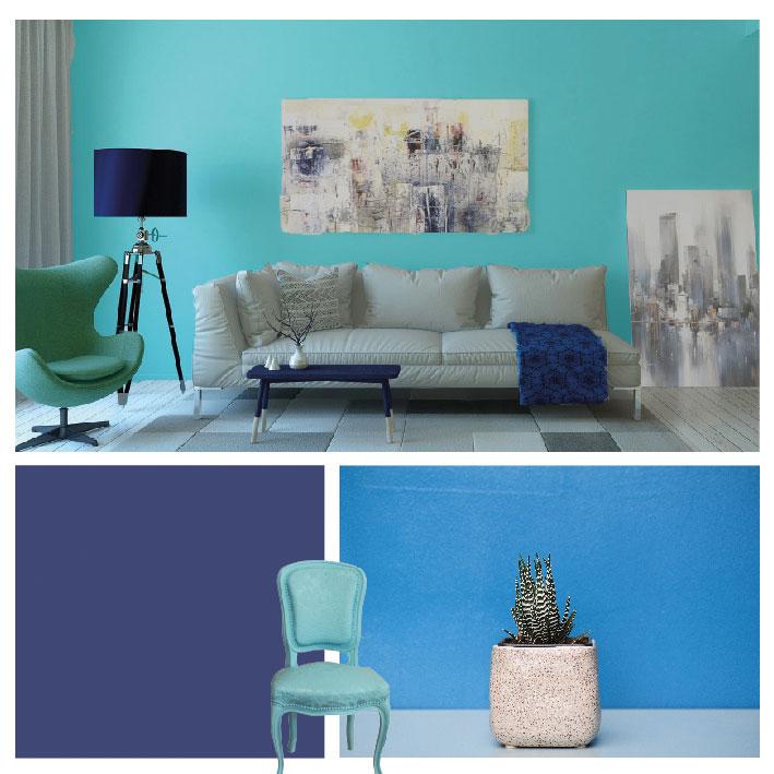 Avec quelle couleur associer une peinture bleue ?